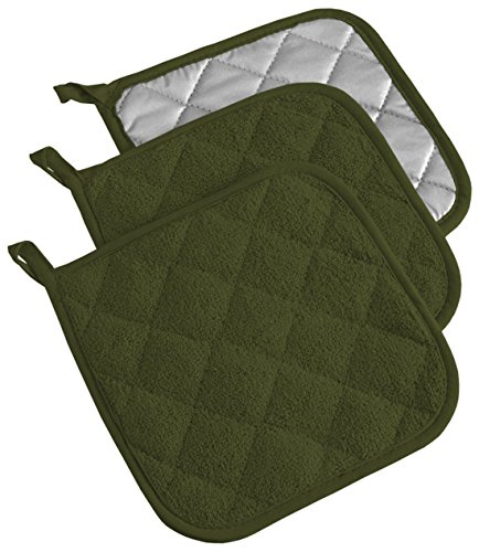 DII 100% Cotton, Quilted Terry Oven Set Machine Washable, Heat Resistant with Hanging Loop, Potholder, Sage 3 Piece