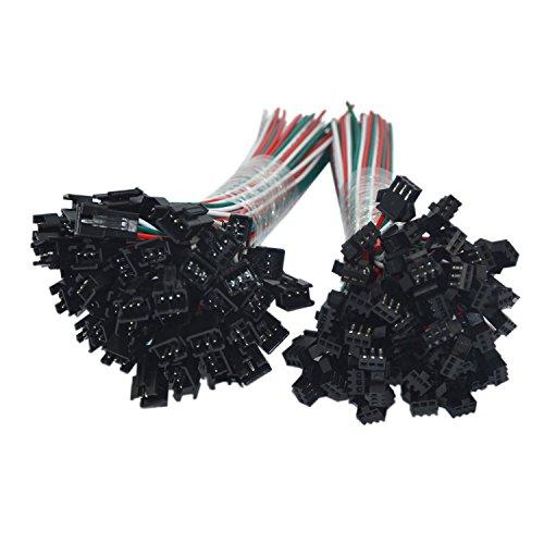 MENGCORE® LED-Anschlusskabel, 3-Pin, JST SM, 20Paar/20Sets 3Pin JST SM, weibliche und männliche Steckertypen, für WS2812B / WS2812/ WS2811LED-Streifen mit 15cm langem Draht