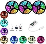 Tira de luz LED SMD 5050 RGB 5M 10M 15M DC12V 30leds / M Cinta impermeable Diodo Cinta de neón LED Cadena de luz flexible con adaptador-RGB_15M