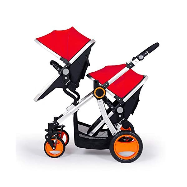 JXCC Double Strollers Baby Pram Tandem Buggy Newborn Pushchair Ultra Light Folding Child Shock Absorber Trolley Can Sit Half Lying 0-3 years old,50kg maximum -Safe And Stylish Red JXCC 1. {Four seasons can be} - The awning can be adjusted to multiple angles to easily cope with the sun 2.{sleeping basket multi-angle, two-way adjustable}: The sleeping basket can be adjusted from 0 to 175 degrees. The baby can sit in the mother's arms, can lie flat, can face the mother, or can face the scenery, suitable for all occasions. To meet the needs of 0-3 years old baby. 3. {Multiple shock absorption design} - Frame spring shockproof, rear wheel, two wheel brakes, wheel spring shockproof, baby safety 1
