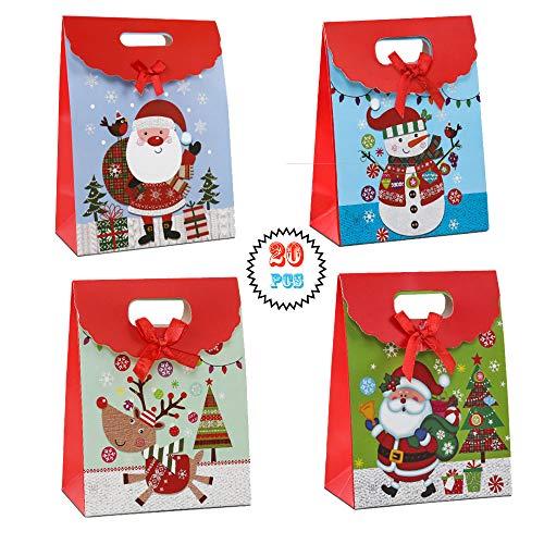 Gsyamh Sacchetti Regalo di Natale con Velcro Sacchetti Regalo di Natale Kraft Paper Simpatico Sacchetto Regalo Babbo Natale Adatto a Natale Come Sacchetti per Confezioni Regalo per Gli Amici-20 Pezzi