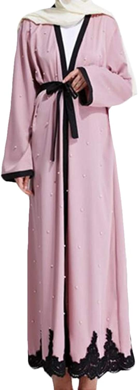 Zantt Women Fashion Nail Beads Cardigans Lace Muslim Long Sleeve Abaya