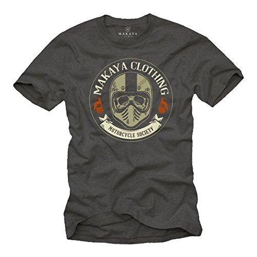 MAKAYA Ropa Motocross Hombre - Camiseta Casco Moto Integral con Calavera - Skull T-Shirt Gris L