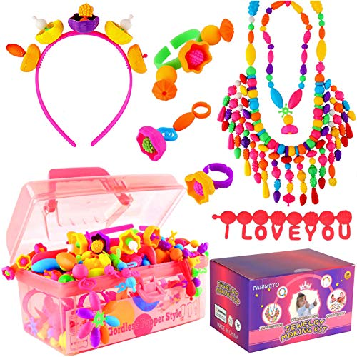 FANIMETO Snap pop Beads Toys for Girls,Jewelry Making Kit for Kids Girl Gift Age 3-5,DIY Arts and Crafts Bracelet Necklace Ring Making Kits Gift Toys for 3,4,5,6,7,8,9 Year Old Girls and Boys(600pcs)