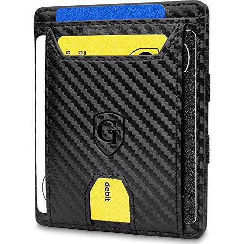 GenTo® Macau - Geldbörse Herren - TÜV geprüft - Magic Wallet - Magischer Geldbeutel mit kleinem Münzfach - Inklusive Geschenkbox - Smart Wallet - Portemonnaie Männer (Carbon)