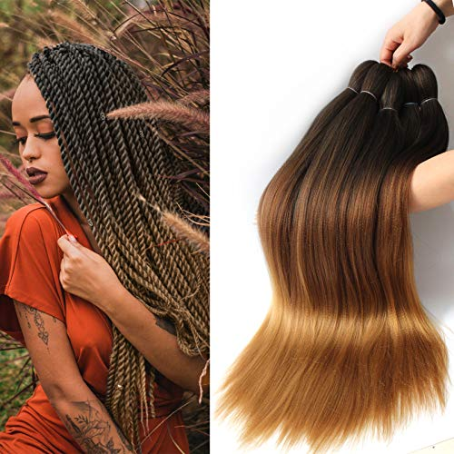 "8 Pcs Pre-Stretched Braiding Hair 26"" Braids Professional Yaki Synthetic Hair for Crochet Twist Black Brown Light Brown (26"", 1B/30/27)"