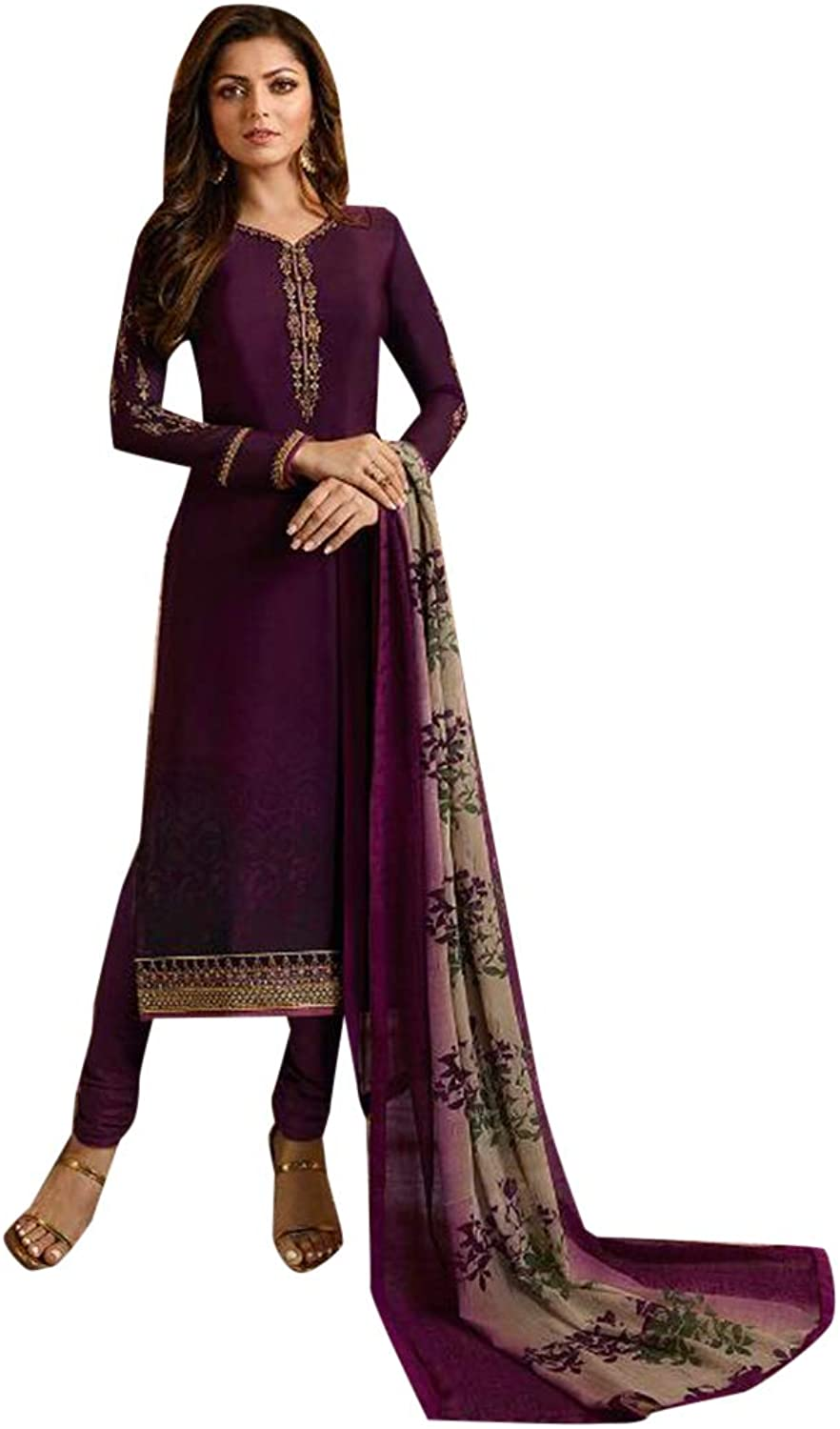 Purple Long Straight Suit Muslim Casual Wear 7492