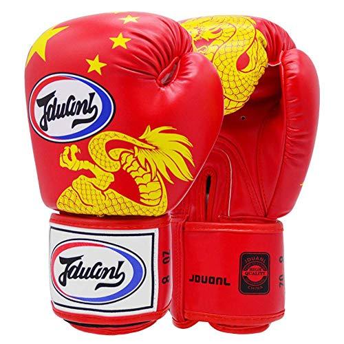QJSTTB Boxhandschuhe Rot Kinder Erwachsene Muay Thai Sparring Boxhandschuhe Kickboxen Kampfkunst Contest Punch Trainingshandschuhe, Rot, 8Oznotstanard