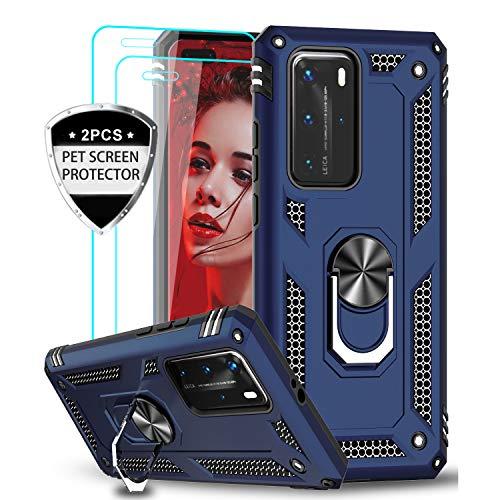 LeYi Funda Huawei P40 Pro con [2-Unidades] 3D Curvo Pet Pantalla,Armor Carcasa con 360 Grados Anillo iman Soporte Hard PC y Silicona TPU Bumper Antigolpes Case para Movil P40 Pro,Azul