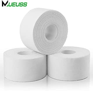 MUEUSS Athletic Tape White Sport Muscle Support for Knee Wrist Ankles Fingers Breathable Hypoallergenic Athlete & Climbers & Boxing Professional Medical Grade 1.5 x 15 Yards(3 Rolls)