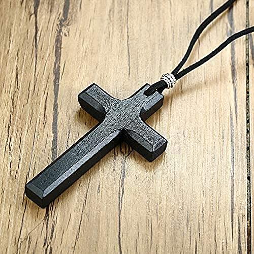 NC190 Collares con Colgante de Cruz de crucifijo de Madera Vintage para Hombres y Mujeres, Regalos Cristianos, joyería de Cadena de Cuerda de 90 cm