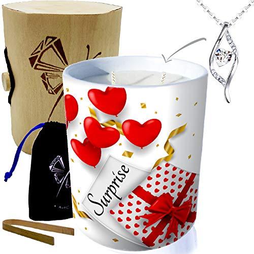 Bougie avec Bijou argent orné de Cristaux de Swarovski® • Bougie 2 mèches déco cadeau Anniversaire en cire végétale, parfumée Monoï de Tahiti • (ADN Surprise)