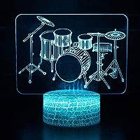 楽器ドラムセットテーマ3DライトLED常夜灯7色変更タッチムードライト