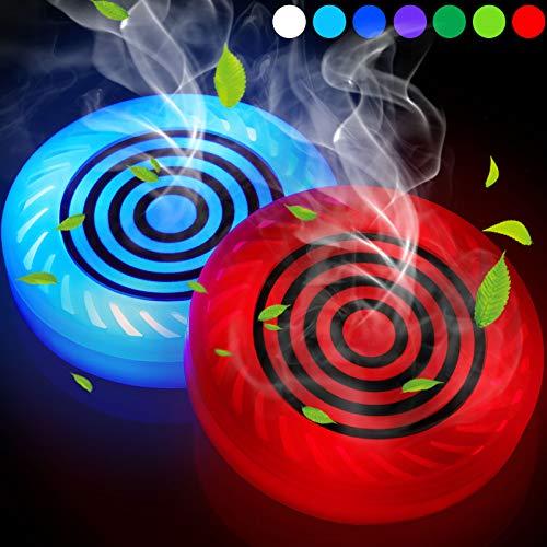 2 Stücke LED Autotassen Halter Lichter Auto Untersetzer USB Ladematte Lumineszierend Tasse Pad Getränkehalter LED Atmosphären Lampe mit Aromatherapie Funktion für Damen Männer, 7 Farben