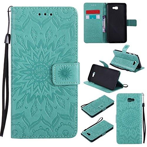 Zhanying pour Samsung Galaxy J7 Prime / On7 2016 PU Portefeuille en Cuir Flip Soleil Fleur Impression Conception Longe Cas De Protection avec Fente pour Carte/Stand (Couleur : Vert)