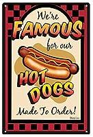 なまけ者雑貨屋 We're Famous Hot Dogs アメリカン 60'S レトロ ブリキ 看板 メタルプレート アンティーク おしゃれ 雑貨 インテリア