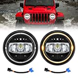 LED Headlights for JK, AAIWA 7 Inch 80W Round TJ LED Headlight with Halo Ring Amber Turn Signal DRL Compatible with Jeep Wrangler JK TJ LJ CJ 1997-2018