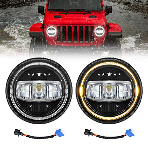 LED Headlights for JK, AAIWA 7 Inch 80W Round TJ LED Headlight with Halo Ring Amber Turn Signal DRL Compatible with Jeep Wrangler JK TJ LJ CJ 1997-2018 -  LM070001