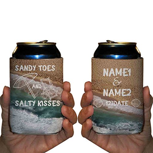 """VictoryStore Can and Beverage Coolers: Neoprene Customizable """"Sandy Toes And Salty Kisses"""" Beach Wedding Can Coolers - 250pc"""