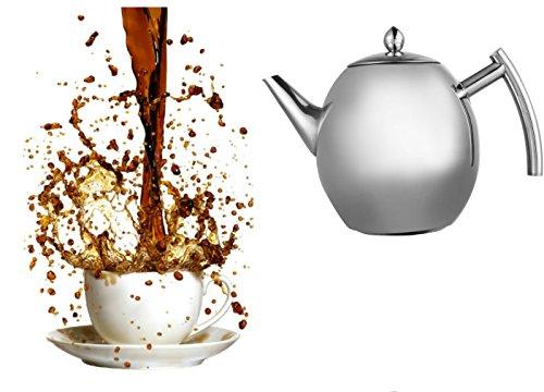Teekanne mit Teefilter, Kaffeekanne, Edelstahl, für Küche Cafe Hotel Restaurant Büro, 1,5 L