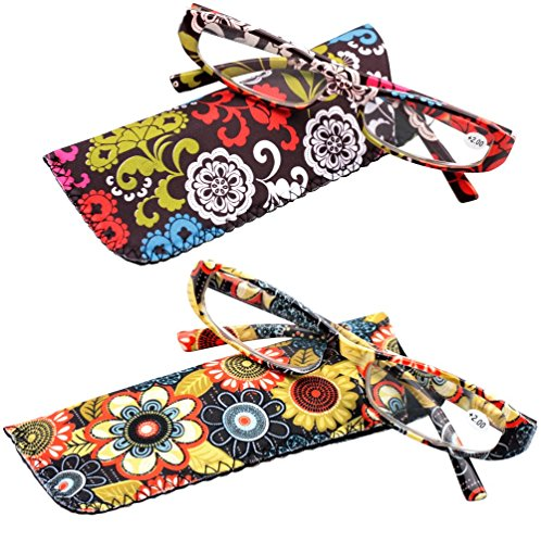 SOOLALA 2-Pair Designer Fashionable Spring Hinge Rectangular Reading Glasses w/Matching Pouch, RedYellow, 1.25