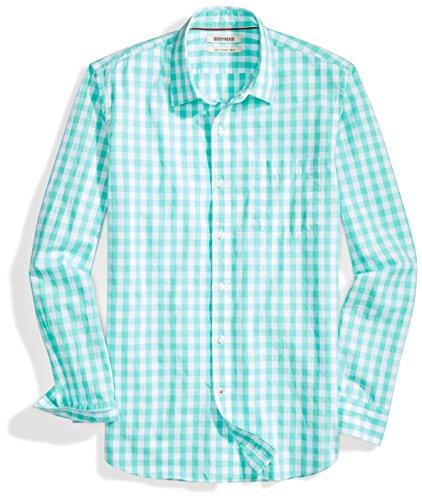 Amazon Brand - Goodthreads Men's Slim-Fit Long-Sleeve Gingham Plaid Poplin Shirt, Green/white, Medium