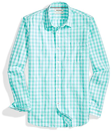 Amazon Brand - Goodthreads Men's Slim-Fit Long-Sleeve Gingham Plaid Poplin Shirt, Green/white, Medium