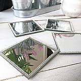 <span class='highlight'>HomeZone</span>® Silver Diamante Glitter <span class='highlight'>Mirrored</span> <span class='highlight'>Glass</span> Coasters and Placemats Glamorous Tableware Set - Fancy Dining Set - Wedding Gift Ideas (<span class='highlight'>Mirrored</span> Diamante Coasters)