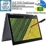 "Acer Spin 5 2-in-1 15.6"" FHD Touchscreen Laptop Computer_ Intel Quad-Core i5-8250U (Beats i7-7500U)_ 8GB DDR4 RAM, 256GB SSD_ Webcam_ Gray_ Windows 10_ BROAGE 64GB Flash Stylus_ Online Class Ready"