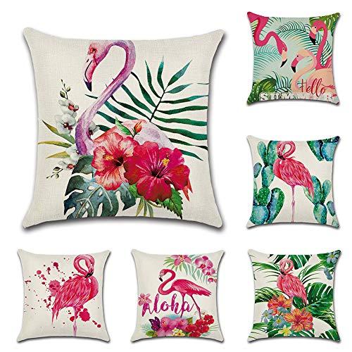 JOTOM 6er Set Baumwolle Leinen Kissenbezug Auto Kissenbezüge Kissenhülle Dekorativ Set Kissen Fall für Sofa Schlafzimmer 45 x 45 cm (Flamingo)