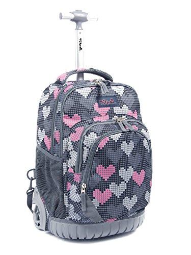 Tilami Kids Rolling Backpack 18 inch Boys and Girls Laptop Backpack, Falling Love
