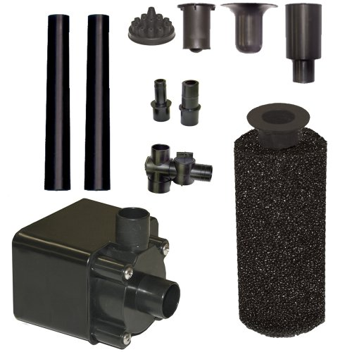 Beckett Corporation 800 GPH Submersible Pond Pump Kit with Prefilter and Nozzles - Water Pump for Indoor/Outdoor Ponds, Fountains, Fish Tanks, Aquariums, and Waterfalls - 12.9' Max Fountain Height, Black, 12.9' Max Fountain Height -