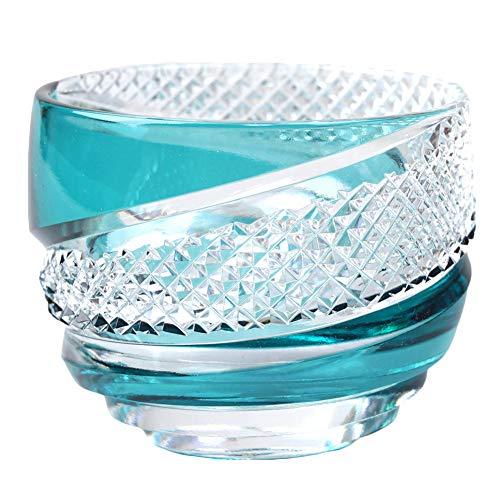 Crystal Sake Cup Edo Kiriko Guinomi Cut Glass Vortex - Green [Japanese Crafts Sakura]