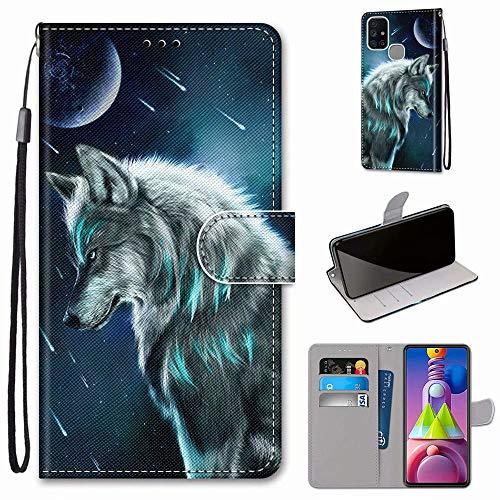 Miagon Flip PU Leder Schutzhülle für Samsung Galaxy M51,Bunt Muster Hülle Brieftasche Case Cover Ständer mit Kartenfächer Trageschlaufe,Himmel Wolf