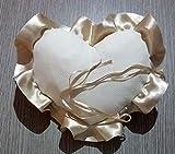 Crociedelizie, Cuscino portafedi cuscinetto fedi in tela aida avorio rifinitura volant in raso da ricamare a punto croce