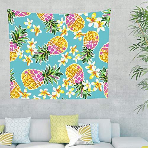 BOBONC Pineapple Tapestry Tapisserie Tuch Pineapple Picnic Beach Sheet Yoga Mat, Home Dekor für Wohnzimmer Schlafzimmer Dekor White 200x150cm