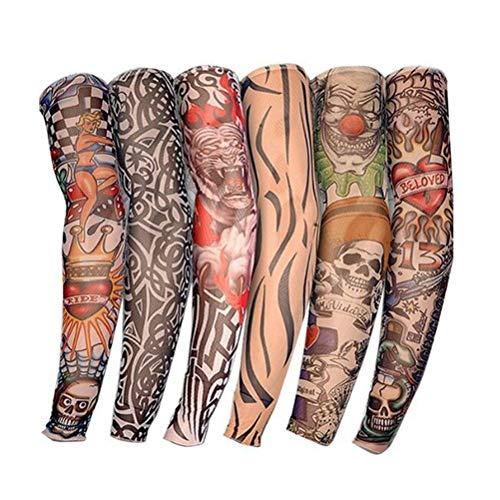 BaiJ Tattoo Ärmel,6er Pack Männer Tattoo Sleeves Arm Tattoo Gefälschte Temporäre Tattoo Nylon Armstrumpf Armstrümpfe Strumpf für Halloween Basketball Radfahren Fahren Sonnenschutz Unisex 38CM
