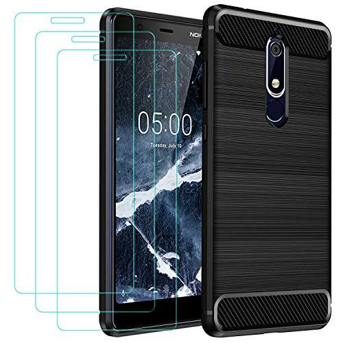 ivoler Hülle für Nokia 5.1 mit 3 Panzerglas Schutzfolie, Schwarz Stylisch Karbon Design Anti-Kratzer Handyhülle Stoßfest Schutzhülle Cover Weiche TPU Silikon Hülle