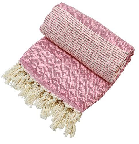 done. Plaid Lounge DIAMOND leichte Sommerdecke Überwurf Picknick Strand Biergarten 100x180cm Blockstreifen rosa offwhite