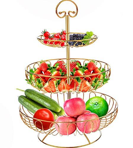 Apark Cesto Portafrutta - Fruttiera in Metallo a 3 Strati - Creativa Ciotola per Frutta con Moderna Cesto Portafrutta Anti-ruggine per Tavolo e Cucina - Dimensioni: 16 X 24X 30 X 40 CM (d'oro)