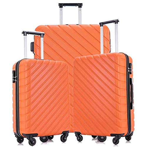 Hardside Luggage Sets, 3 Piece Lightweight 4 Wheels Hard Sheel ABS Travel Suitcase 20' 24' 28'in Orange with Free Luggage Protectors and Hangers