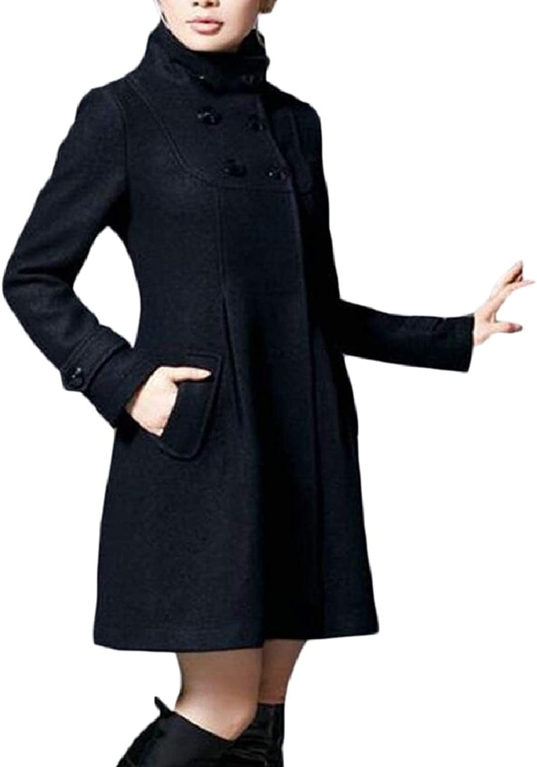 LEISHOP Women Trench Parka Jacket Wool Stand Collar Long Overcoat Outwear