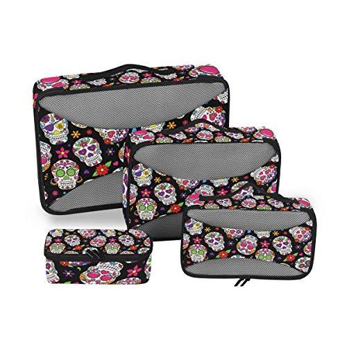 QMIN - Juego de 4 Cubos de Embalaje de Viaje, diseño de Calavera de azúcar Muerta, Bolsa organizadora de Equipaje de Malla, Bolsa de Almacenamiento para Maletas de Viaje
