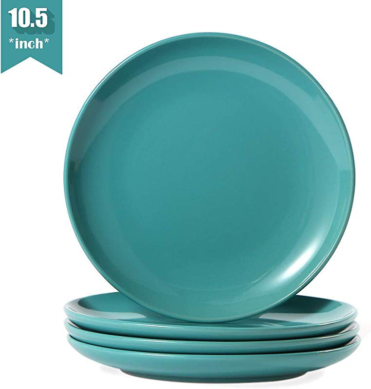 Teal Dinner Plates Set Of 4 10 5 Inch 4 Piece Stoneware Porcelain Dinner Plates Set Turquoise Ceramic Dinner Plates Turquoise Dishes
