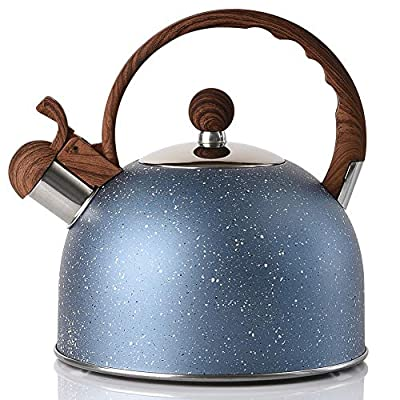 Tea Kettle - VONIKI 2.5 Quart Tea Kettles Stovetop Whistling Teapot Stainless Steel Tea Pots for Stove Top Whistle Tea Pot With Wood Pattern Anti-Hot Handle Teakettle Blue