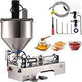 VEVOR Máquina de Llenado y Agitación Neumático 500 mL, Máquina de Relleno de Pasta Horizontal Acero Inoxidable, con Tolva con Agitación de 30 L, 110 V, Presión 0,4-0,9 MPA para Crema Salsa Pasta etc