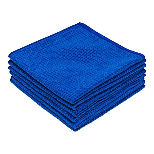 Microfiber Waffle Weave Kitchen and Dish Drying Towels | 16 x 16 in. (6 Pack) | Absorbent, Streak Free, Thick | Blue