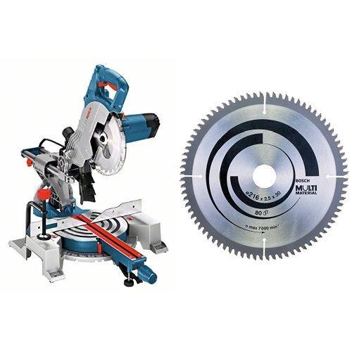 Bosch GCM 800 SJ - Sierra ingletadora (1400 W, 240 V) + Hoja de sierra circular Multi Material - 216 x 30 x 2,5 mm, 80 (pack de 1)