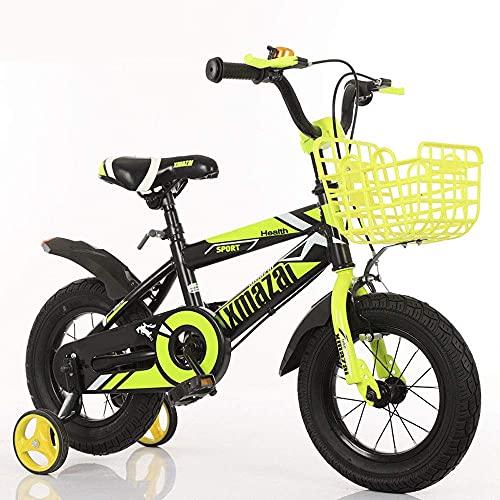 N&I Bicicleta estándar de los niños de acero al carbono engrosado marco bicicleta 3-7 años de edad bicicleta del niño 12/18 pulgadas niños bicicleta amarillo 16 pulgadas amarillo 18 pulgadas
