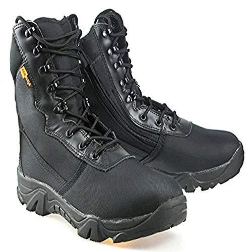 ATAIRSOFT Hommes Militaire Armée Tactique Sports De Plein Air Camping Randonnée Travail Combat À Lacets Respirant Haut Haut Zipper Desert Cuir Chaussures Bottes Noir BK